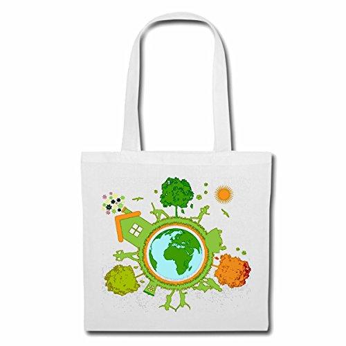 Tasche Umhängetasche RETTET DEN Planet Recycle GLOBUS Erde Planet Umwelt Umweltschutz Einkaufstasche Schulbeutel Turnbeutel in Weiß