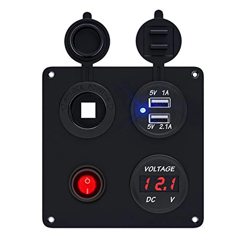 TR Turn Raise Impermeable USB Cargador + Voltímetro Digital LED + Interruptor + Encendedor de Cigarrillos para Coche Barco.