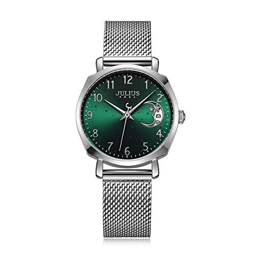 Wrist Watches Armbanduhren Mode Mondkalender Dial Quarz-Uhr-Frauen 0401 (Color : C, Size : 30MM)