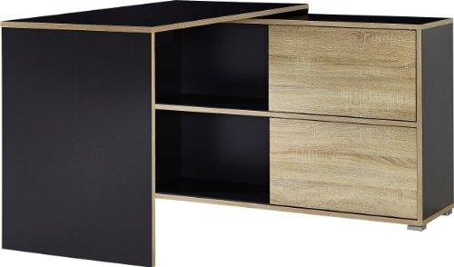 Germania 4036-161 Schreibtisch mit integriertem Schiebetürregal GW-Slide in Anthrazit/Sonoma-Eiche-Nachbildung, 120 x 76 x 120 cm (BxHxT)