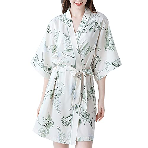 TBATM Batas De Lujo para Mujer, Batas De Kimono Cortas De Seda Satinada Suave con Bata De Baño con Estampado De Flores De Vid Blanca para Bodas En La Playa,Blanco,S