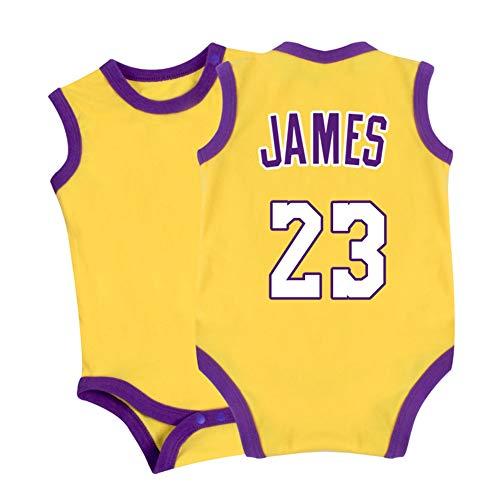 HFJLL Combinaison bébé Lakers James # 23 0-15 Mois Combishort Crawl Suit 5 Styles,Yellow-1,66CM