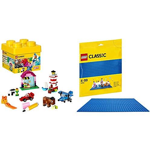 Lego Classic - Ladrillos Creativos, Imaginativo Juguete de Construcción con Bricks de Colores (10692), Color/Modelo Surtido + Lego Classic - Base Azul de Juguete de Construcción de 25 cm de Lado