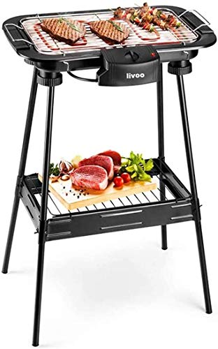 Potente Grill BBQ Elettrico Senza Fumo con Piedistallo e Termostato regolabile da 2000W – Grande barbecue bistecchiera griglia elettrica da tavolo piedi supporto stand removibile piastra DOC204
