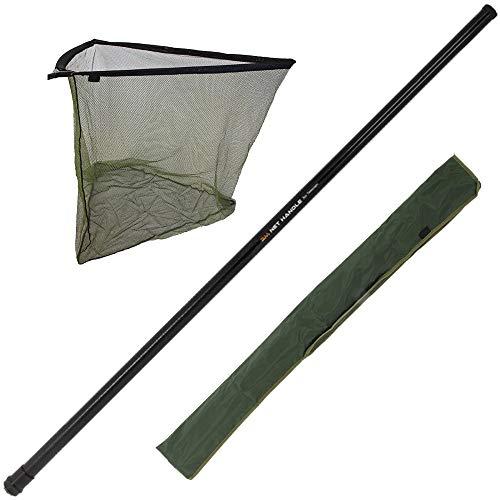 G8DS® Set 3m Tele-Kescherstange aus Fiberglas, Karpfen/Hecht Keschernetz inkl. Aufbewahrungstasche für den Kescher, Karpfenangeln