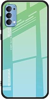 جراب خلفي من الزجاج المقوى بنمط الرخام لهاتف Oppo Reno4 - أخضر
