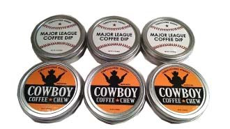 SPLIT 6 Pack Cowboy Coffee Chew & Major League Coffee Dip Quit Chewing Tin Can Non Tobacco Nicotine Free Smokeless Alternative to Dip Snuff Snus Leaf