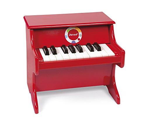 Janod - Piano en Bois Confetti - Instrument de Musique Enfant - Jouet d'Imitation et d'Éveil Musical - Rouge - Dès 3 Ans, J07622