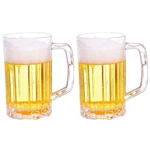Ruesious Bierkrug 0.5l 2 Stück - Bierkrug Geschenk zum Geburtstag Geschenkidee - Deutscher Krug, Biergefäß aus Plastik
