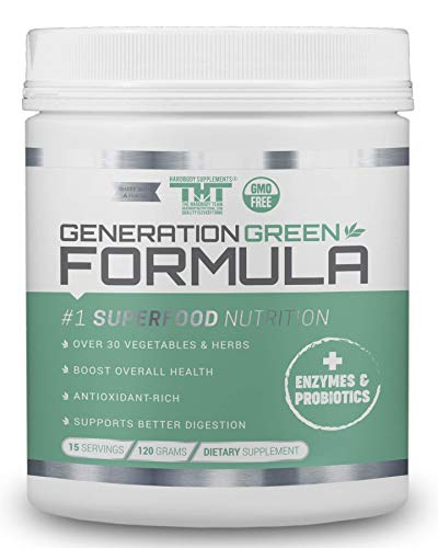 Generation Greens Powder | Organic Superfood Powder with Spirulina, Chlorella, Wheat Grass | 60 Powerful Super Foods, Probiotics, Enzymes | GMO Free (15 Serving, Original)