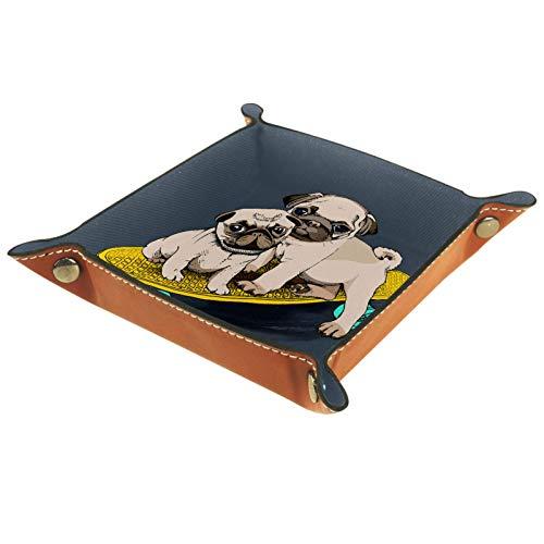 Caja de almacenamiento pequeña, bandeja de valet para hombre,Patrón de perro scooter animal,Organizador de cuero para llaves de caja de monedas