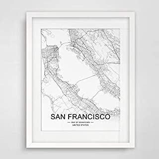 San Francisco City Downtown Map Wall Art San Francisco Street Map Print City Road Art Black and White City Map Office Wall Hanging Map Decor 8x10 inch No Framed