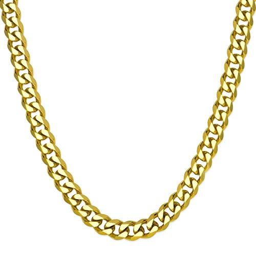 SoulCats® Halskette/Panzerkette aus Edelstahl für Männer in Gold, Größe: 8 mm, Kettenlänge ca. 60 cm