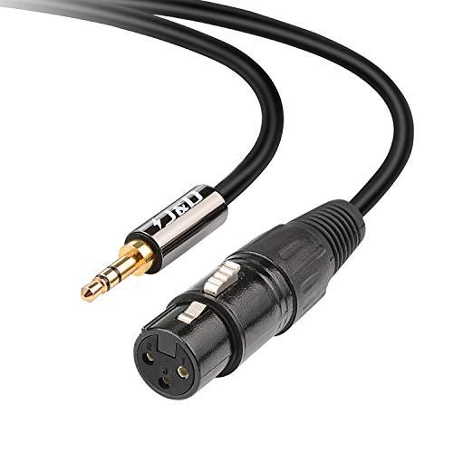J&D TRS 3,5mm a XLR Cavo, PVC Sgusciato 3.5 mm 1/8 TRS Maschio a XLR Femmina Balanced Cavo XLR a TRS 1/8 Audio Adattatore Cavo per DSLR Camera Smartphone Laptop Microfono, 1.8m