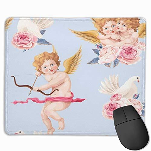 Nettes Mauspad, Schreibtisch-Mauspad, kleine Mauspads für Laptop-Computer, Mausmatte Rosa Retro-Valentinstag-Rosen und Amor-abstrakter Amor-Engel