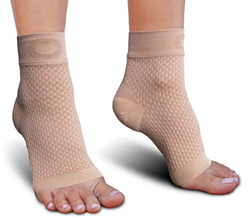 Plantar Fasciitis Sock with Arch Support for Men & Women - BEST Ankle Compression Socks for Foot and Heel Pain Relief - Better than Night Splint Brace, Orthotics, Inserts, Insoles (XXL, Beige / Nude)