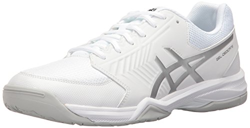 Asics Men's Gel-Dedicate 5 Tennis Shoe, White/Silver, 9 M US