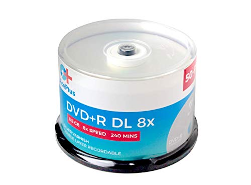 AcePlus 50-Pack DVD+R discos de doble capa con velocidad 8x, 8,5 GB de datos y logotipo de superficie plateada en caja de pastel