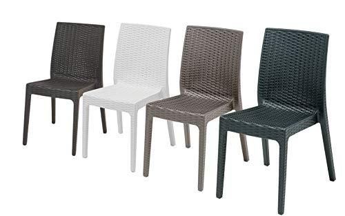 4 Sedie in rattan da esterno, modello Chiara, senza braccioli, per salottino da esterno, sedie impilabili, Design Made in Italy, 55x46x85 cm, disponibili in colore Antracite, Tortora o Bianco