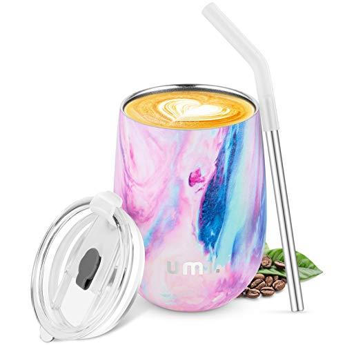 UMI. by Amazon-Kaffeebecher to go 360ml, Thermobecher Edelstahl Isolierender Wiederverwendbarer Kaffeebecher BPA-Frei, Reisebecher mit Trinkhalm und Deckel, Kaffeetasse für Kaffee,Wein und Cocktails