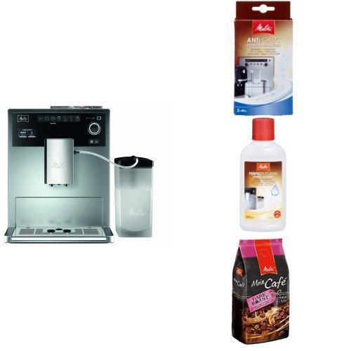 Melitta Starter Pack: Melitta E 970-101 silber Kaffeevollautomat Caffeo CI, silber/schwarz  + Entkalker + Milchreiniger + Mein Café Ganze Kaffeebohnen Dark Roast