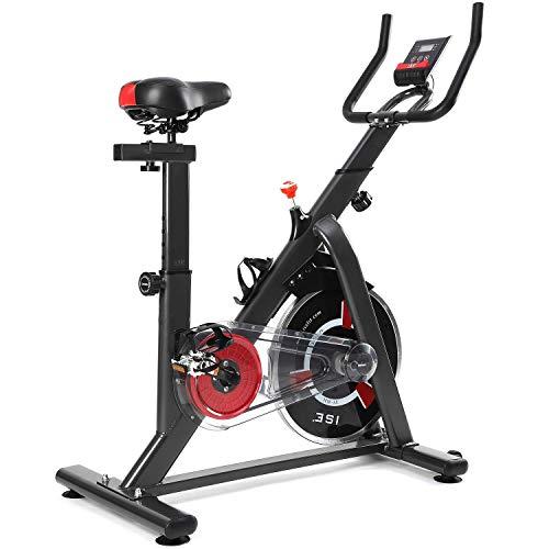 ISE neusten Indoor Cycle Ergometer Heimtrainer mit LCD Anzeige,Armauflage,Puls&gepolsterte Fitnessbike Speedbike mit Riemenantrieb-Fahrrad Ergometer SY-7021 (Grau)