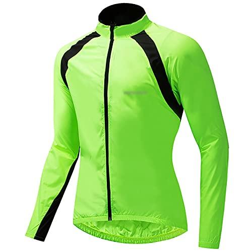 Ropa Ciclismo Impermeable y Resistente Viento, Cortavientos Manga Larga para Deportes al Aire Libre para Hombres, Chaqueta Ciclismo Ocio Fina y Transpirable, para Correr o Andar en Bicicleta,Verde,M