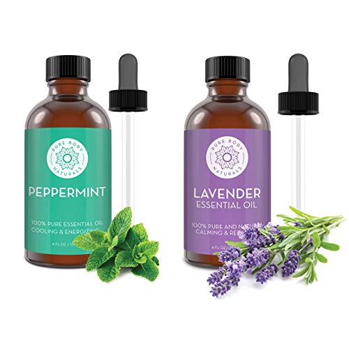 Peppermint Essential Oil + Lavender Essential Oil Bundle, 4 fl oz Each, Pure and Undiluted, Lab Tested, Therapeutic Grade – by Pure Body Naturals