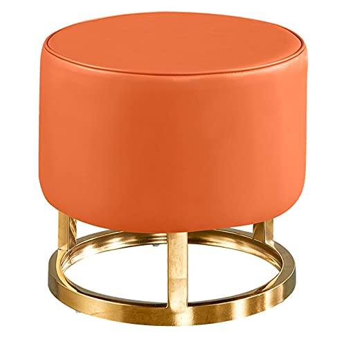SMTAO Creativity Round Footstool Faux Leather Pouffe Stools With Stainless Steel Metal Base For Living Room Bedroom Low Stool,Orange,32Cmx32Cm
