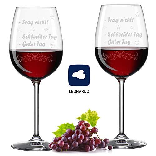 Noble Society Im Set: 2 x Leonardo XL Weinglas Guter Tag, Schlechter Tag - Frag Nicht! - Geburtstag Geschenk - Lustige Geschenke - 460ml Weißweingläser - Originelle Geschenke – Gravur - 2 Weingläser