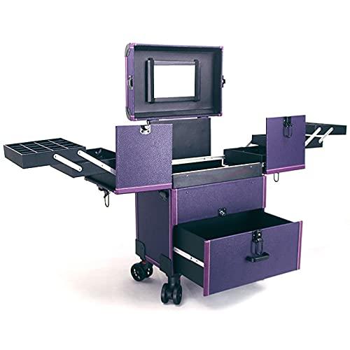 N \ A Make Up Station Organizer Beauty Rolling Case Trolley per Il Trucco Professionale Scatola da Trucco Cosmetica Rolling Portable Train Table Case in Alluminio Trolley per Il
