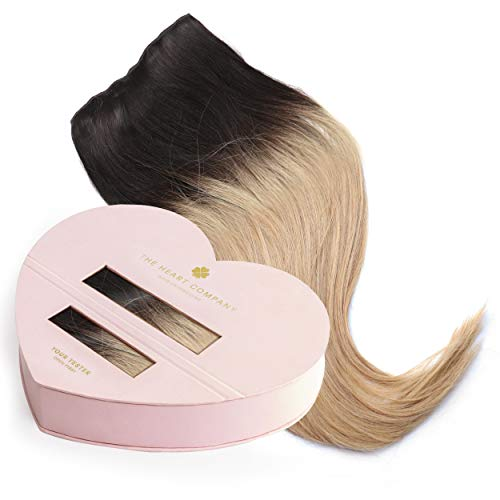 THE HEART COMPANY Premium Clip-in Extensions - hochwertiges Echthaar (10 Clip-in Haartressen 160g Set) - Länge 50 cm - Farbe Ombre Dark Blonde - Balayage Blond