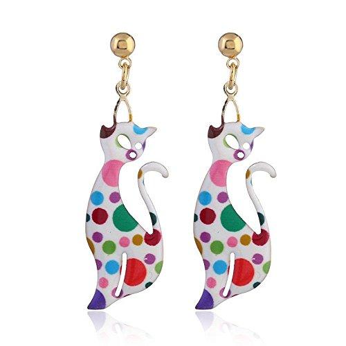 QIYUEQI Ms Ohr Schrauben personalisierte Retro kleine Katze Ohrringe schöne Tier Ohrringe Continental Format Ohr Nadeldrucker