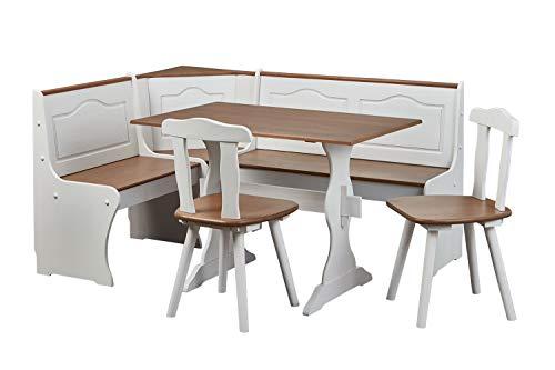 Inter Link Alpine Living Eckbank Gruppe Tisch Stühle Kücheneckbank Sitzbank Esszimmer Kiefer Massivholz Weiss lackiert