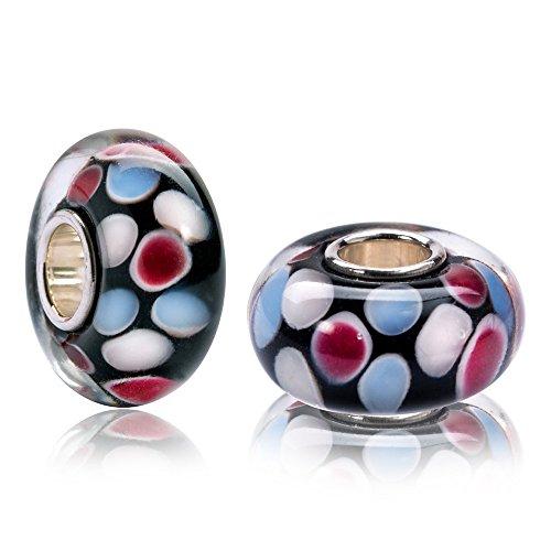 MATERIA Muranoglas Beads Perle FLOATING Silber 925 mehrfarbig für European Beads Armband #529