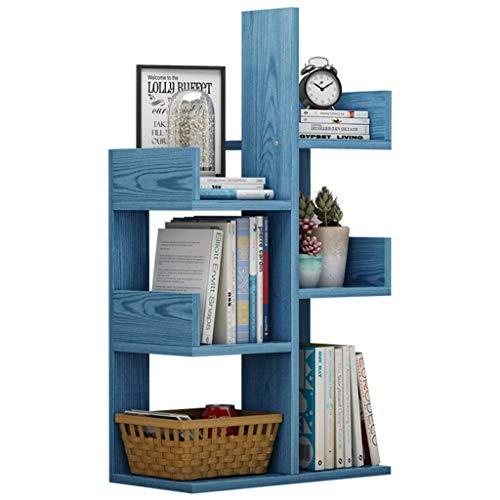 Multilayer Office Desktop Bookshelf Wood Ajustable Mostrador Estante Estante Organizador Almacenamiento Rack Freestanding Encimera Librería Decoración (Color: 6 capas-azul) ( Color : 6 Layersblue )