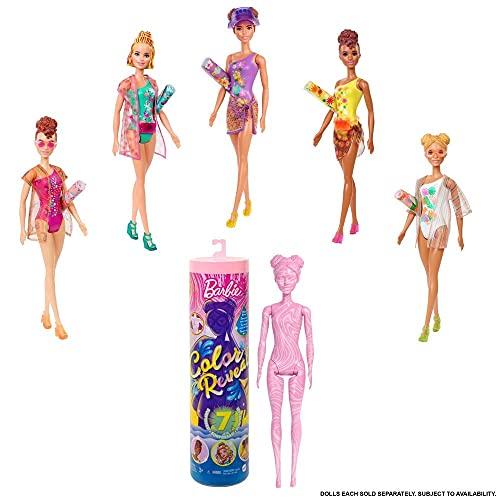 Barbie Color Reveal poupée avec 7 éléments mystère, série Plage, 4 sachets surprise, modèle aléatoire, jouet pour enfant, GTR95