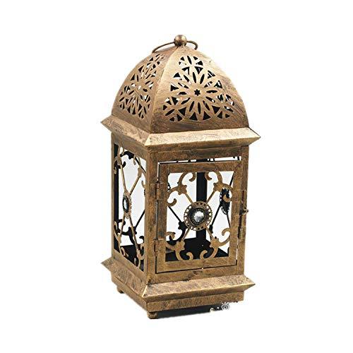 Grande Lanterne de Jardin Vintage en métal pour intérieur ou extérieur Marron Taille L