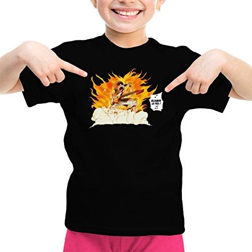 Okiwoki T-Shirt Enfant Fille Noir Parodie Fairy Tail - Natsu - Allumer Le Feu !! (T-Shirt Enfant de qualité Premium de Taille 3-4 Ans - imprimé en France)
