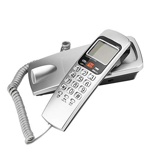M ugast Teléfono con Cable, teléfono Fijo con Cable de Escritorio/Montaje en Pared con función de identificación de Llamadas FSK/DTMF para el hogar/Oficina/Hotel(Plata)