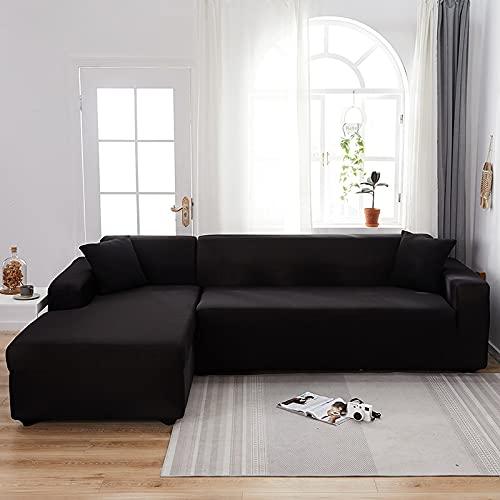 WXQY Sala de Estar Funda de sofá elástica de Color sólido Funda Deslizante elástica Funda de sofá Funda de sillón en Forma de L Funda de sofá A1 2 plazas
