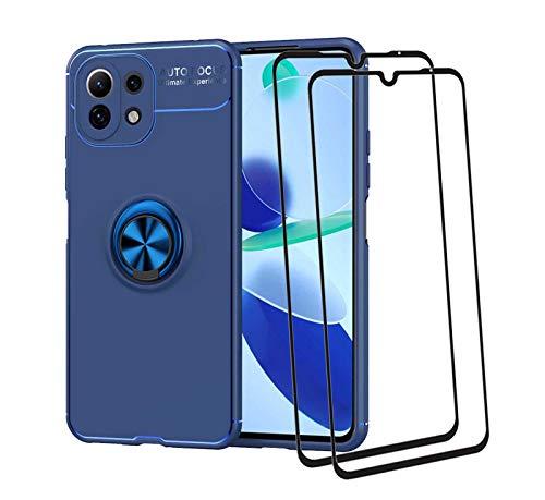 GOKEN Hülle für Xiaomi Mi 11 Lite 5G   Mi 11 Lite + 2 Panzerglas, Schutzhülle TPU Silikon Handyhülle mit 360 Grad Drehung Fingerring Ständer, Stoßfest Bumper Hülle Soft Flex Cover, Blau+Blau