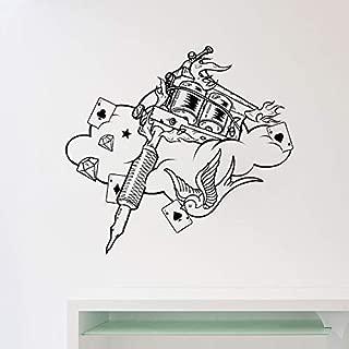 Máquina de Tatuajes Tatuajes de Pared Estudio de Tatuajes Cartel de Vinilo Pegatina Decoración para el hogar Ideas Diseño de Interiores Arte de la Pared Salón Decorar Gris 45x42 cm