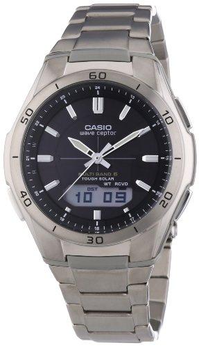 Casio WAVE CEPTOR Reloj Radiocontrolado y solar, Caja de tit