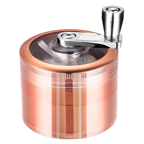 LIHAO Grinder Pollen Crusher 4-Teilig Mühle Handkurbel mit Scraper für Gewürze, Kräuter, Spices (Rosa Golden)