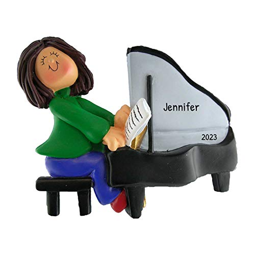 Personalized Musician Girl Playing Piano Christmas Tree Ornament 2021 - Brunette Woman Pianist Performs Recital Orchestra Hobby Profession Teacher - Free Customization (Brown Hair Female)