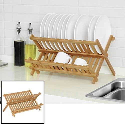 Afdruiprek van bamboe hout - Inklapbaar/opvouwbaar - Afwasrekje voor 14 borden, glazen, bestek etc. - Druiprek met 2 etages/afwas rek voor in keuken - Decopatent