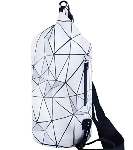 SNAILMAN Waterproof Dry Bag for Women Men, 10L Roll Top Lightweight Dry Storage Bag Backpack with Phone Zipper Pocket, Swimming, Boating, Kayaking, Camping and Beach (Geometry, 10L)