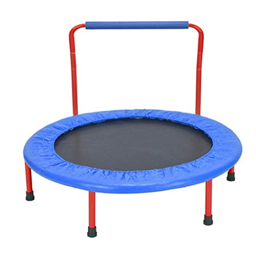 Oanzryybz Foldable Kids Trampoline Little Trampoline with Handrail and Safety Padded Cover Mini Foldable Bungee Rebounder, Trampoline Indoor/Outdoor 38inch Weight Capacity 264lbs