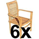 ASS ECHT Teak Holz Design Gartensessel Gartenstuhl Sessel Holzsessel Gartenmöbel sehr robust Alpen, Größe:6 Stück